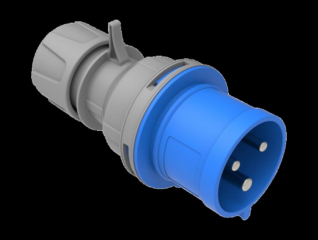 Вилка CEE переносная 220В 32А 2P+PE IP44 влагозащищенная