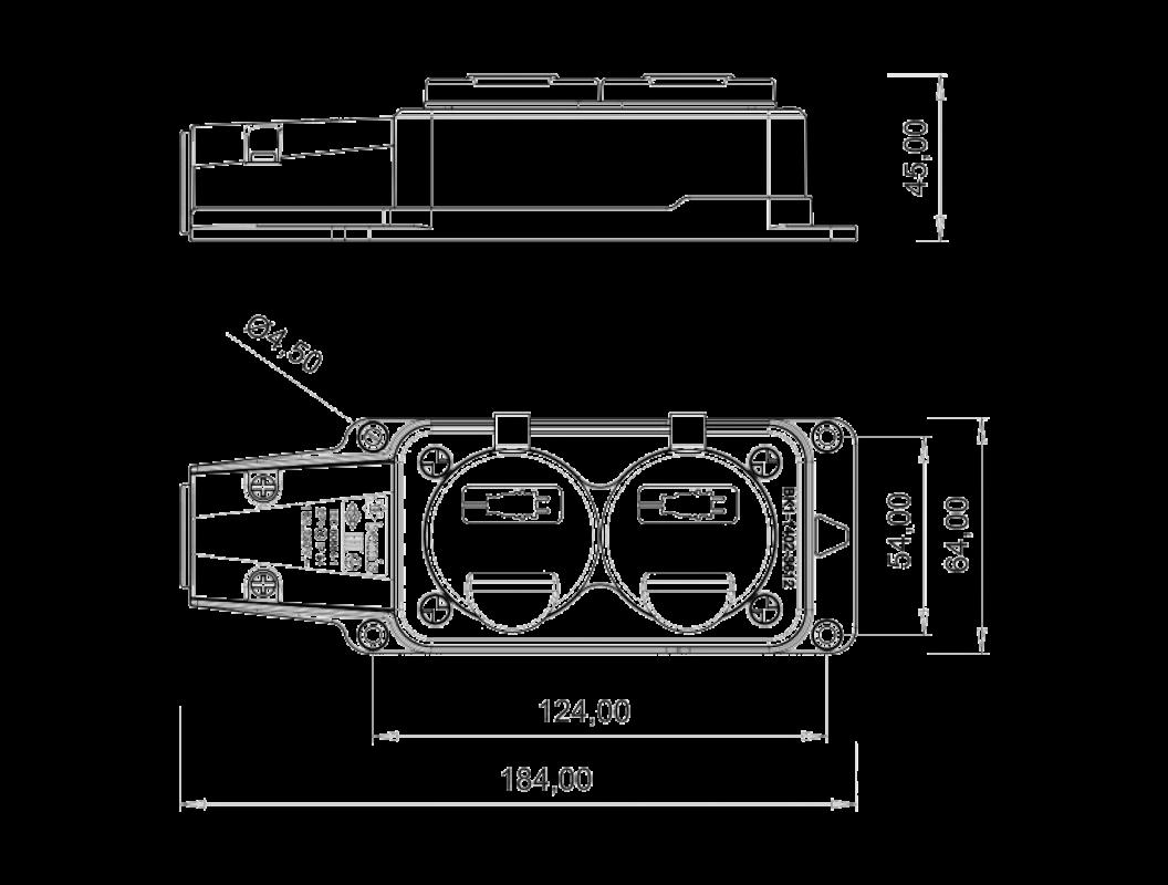 Колодка удлинителя на 2 розетки переносная каучуковая 220В 16А 2P+E IP44 влагозащищенная размеры
