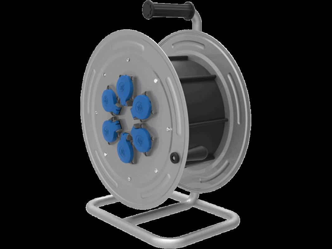 BM4 Удлинитель электрический на металлической катушке морозостойкий влагозащищенный IP44 220В 16А 6 розеток