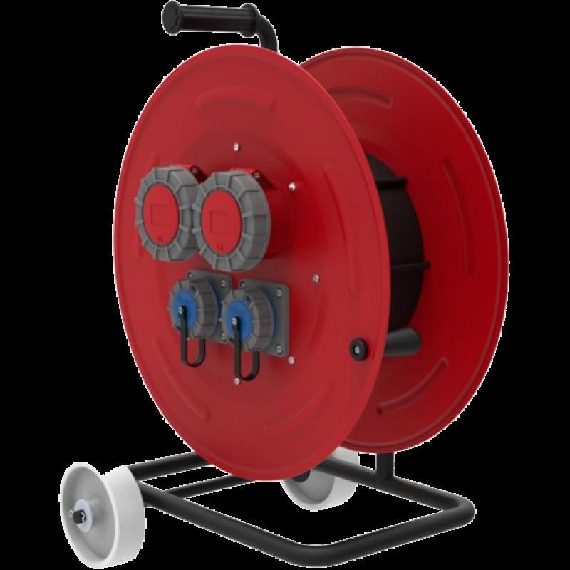 BM6 Удлинитель на металлической катушке IP67 2х(380В 32А) 2х(220В 32А) с колесами морозостойкий