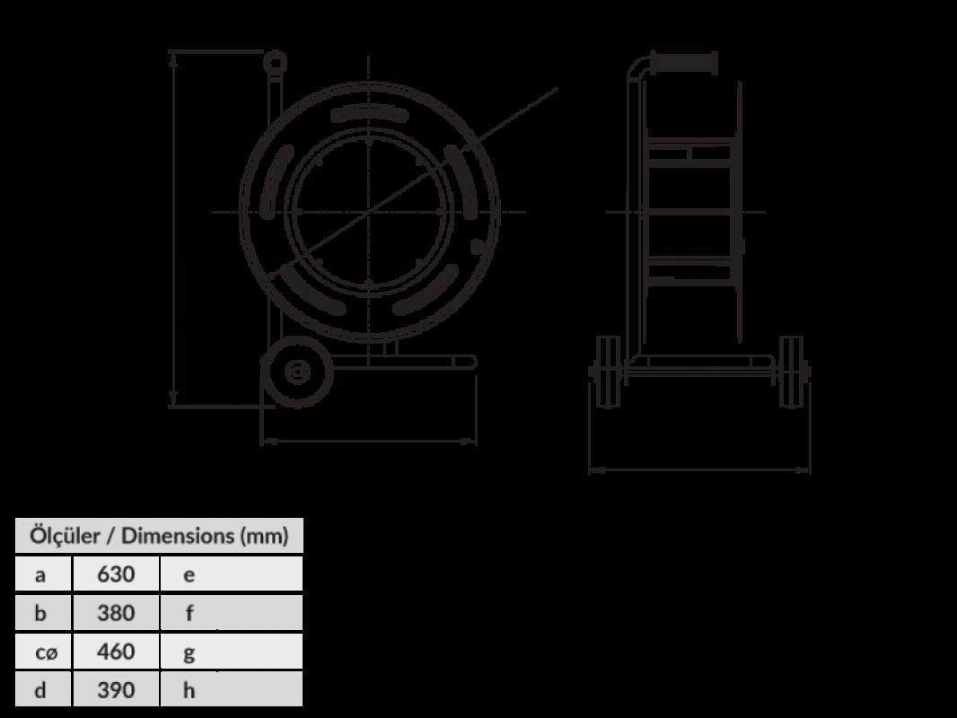 Размеры BM6 Удлинитель холодостойкий на металлической катушке с колесами IP44 220В 16А 70м 80м 90м 100м 110м