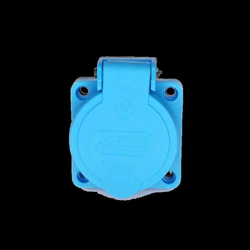 Розетка панельная встраиваемая 2P+PE 16A 250В с фланцем 50х50 синяя