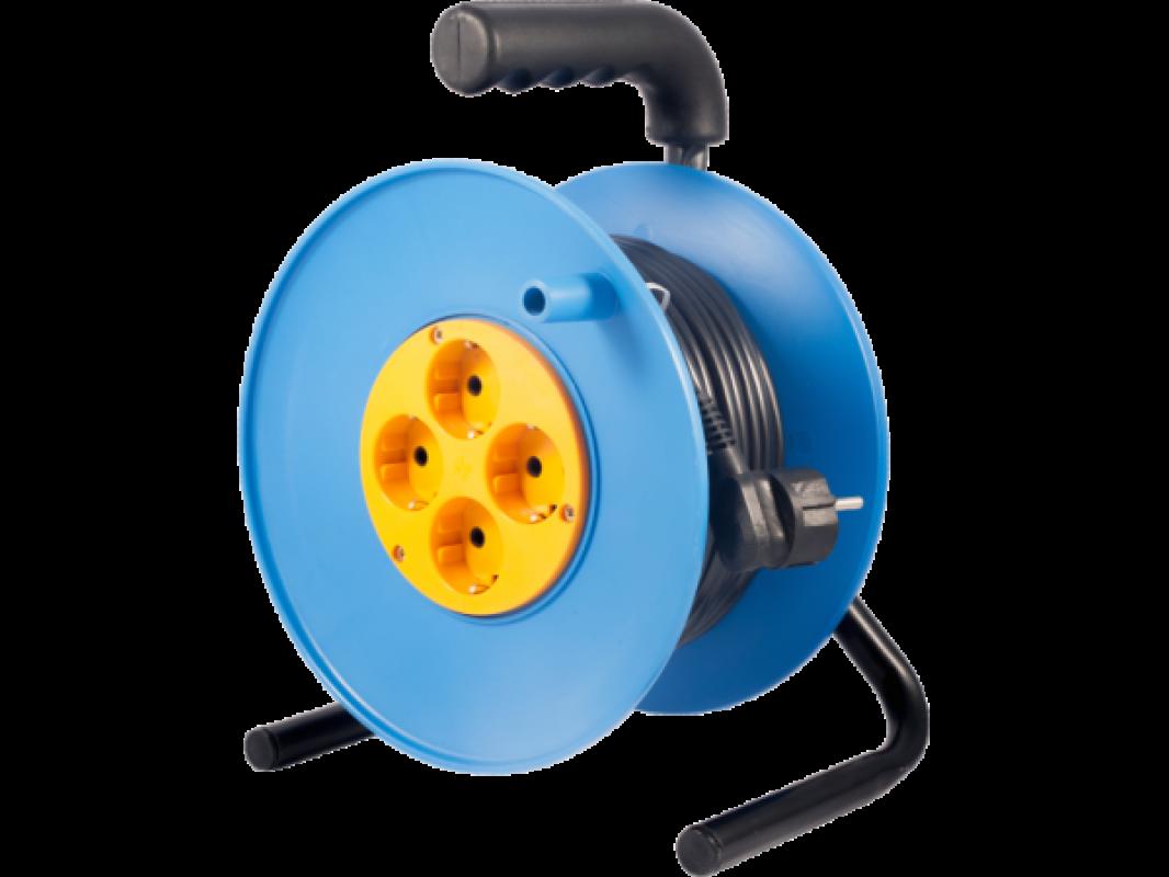 Электрический удлинитель на пластиковой катушке с металлической стойкой 4х220В IP20 У1С-4 УС-4