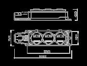 Колодка удлинителя на 3 розетки переносная каучуковая 220В 16А 2P+E IP44 влагозащищенная размеры