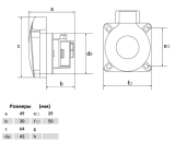 Розетка панельная встраиваемая 2P+PE 16A 250В с фланцем 50х50 синяя размры