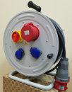 BM4 Удлинитель на металлической катушке электрический IP44 1х380В-32А 2х220В-16А с авариным выключателем
